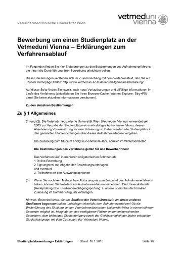 bewerbung um einen studienplatz an der vetmeduni vienna - Bewerbung Studienplatz