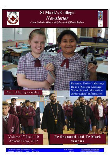 10 Newsletter 9th November 2012 - Saint Mark's Coptic Orthodox ...
