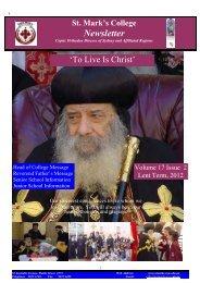 2 Newsletter Mar 2012.3 - Saint Mark's Coptic Orthodox College