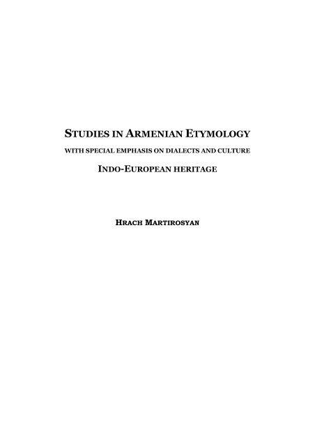 Studies In Armenian Etymology Get A Free Blog