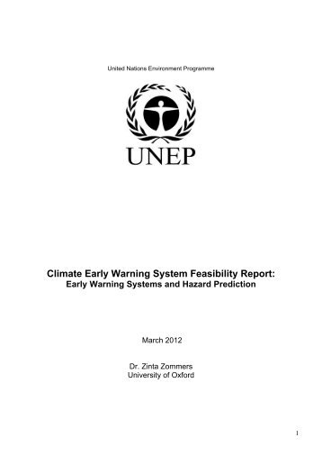 Climate Early Warning System Feasibility Report: - UNEP