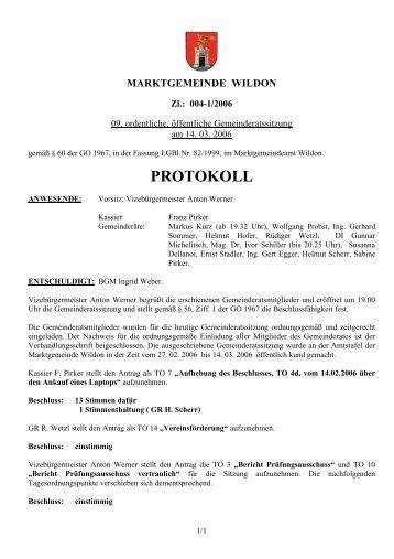 Protokoll der 09. Gemeinderatssitzung - Wildon