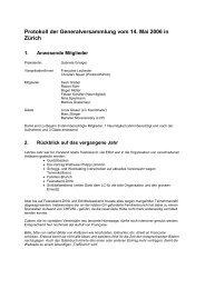 Protokoll der Generalversammlung vom 14. Mai 2006 in Zürich