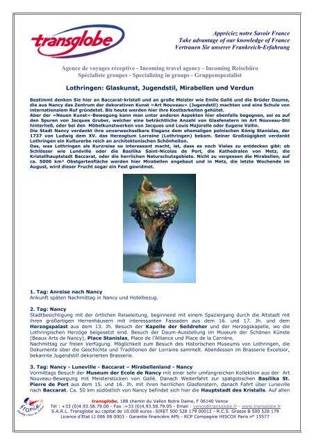 Lothringen: Glaskunst, Jugendstil, Mirabellen und Verdun - transglobe