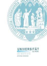 Jahresbericht des Rektorates - Universität zu Köln