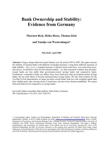 Bank Ownership and Stability: Evidence from Germany - PDF - FDIC
