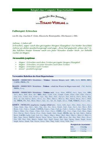 Beispiel einer Computer-Repertorisation Fallbeispiel ... - Tisani Verlag