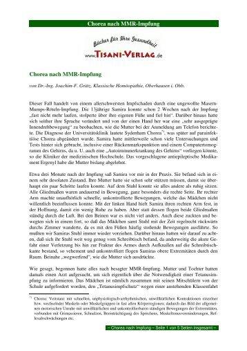 Chorea nach MMR-Impfung Chorea nach MMR ... - Tisani Verlag