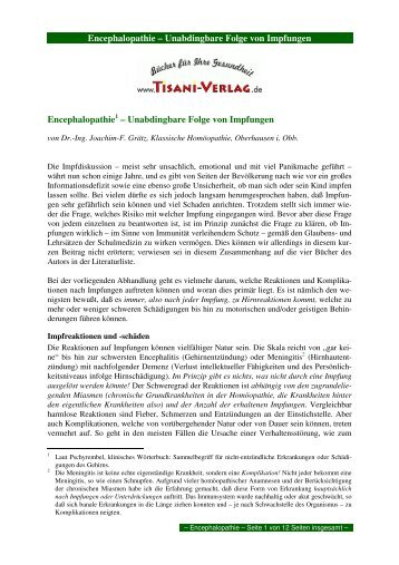 Encephalopathie – Unabdingbare Folge von ... - Tisani Verlag