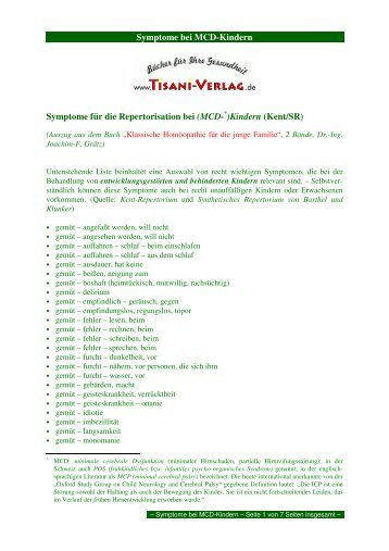 Symptome bei MCD-Kindern Symptome für die ... - Tisani Verlag