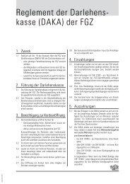 Reglement der Darlehens- kasse (DAKA) der FGZ - Familienheim ...