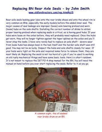 Replacing Rear Axle Seals in 8N Ford Tractors - N Tractor Club