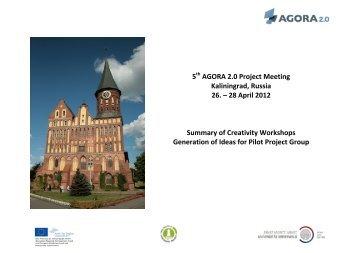 5th AGORA 2.0 Project Meeting Kaliningrad, Russia 26. – 28 April ...