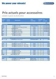Prix actuels pour accessoires valables à partir du 01.01.2012