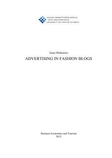 ADVERTISING IN FASHION BLOGS