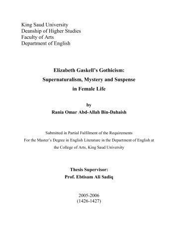 Elizabeth Gaskell's gothicism supernaturalism mystery and suspense