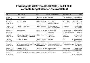 Ferienspiele 2009 vom 03.08.2009 - im Markt Kleinwallstadt