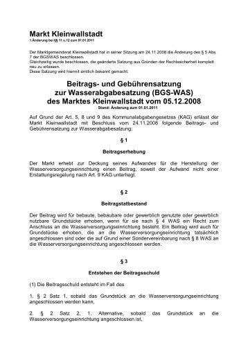 Beitrags- u.Geb.satzung z. Wasserabgabesatzung (BGS-WAS