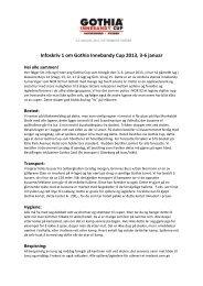 Infoskriv 1 om Gothia Innebandy Cup 2013, 3-‐6 januar - Nor 92