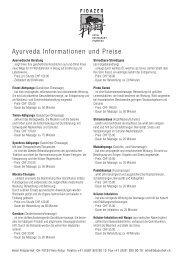 Ayurveda Informationen und Preise - Hotel Fidazerhof