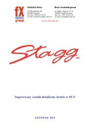 Stagg - Sugerowany cennik detaliczny brutto w PLN - FX-Music Group