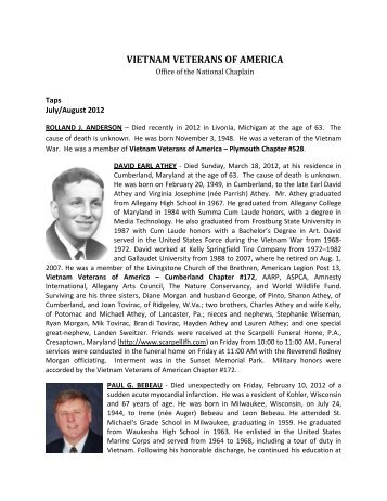 july/august 2012 expanded obituaries - Vietnam Veterans of America