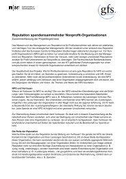 Reputation spendensammelnder Nonprofit-Organisationen