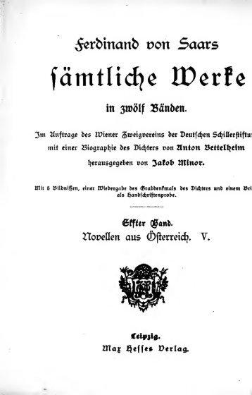 Ferdinand von Saars sämtliche Werke [microform] : in zwölf Bänden