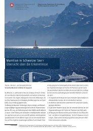 Munition in Schweizer Seen - Übersicht über die Erkenntnisse - VBS