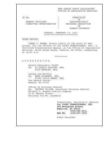 Deposition of Ronald Susswein - New Jersey Legislature
