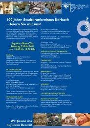 100 Jahre Stadtkrankenhaus Korbach ... feiern  Sie mit uns!