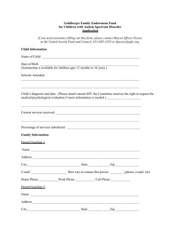 Chase Fund Scholarship Application Form  The Early Childhood