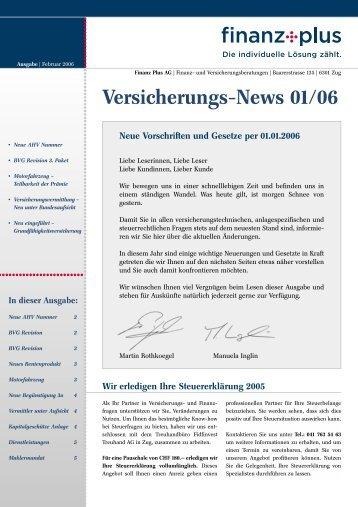 Neue Vorschriften und Gesetze per 01.01. - Finanz Plus AG