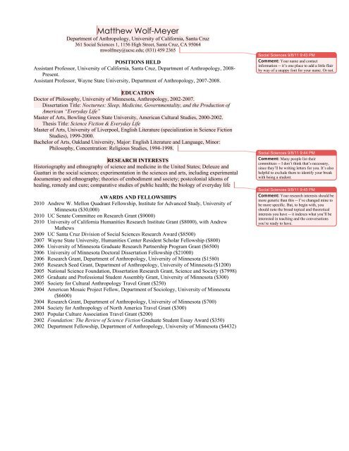 Science Fiction Side Of Everyday Life >> Cv Sample With Commentary