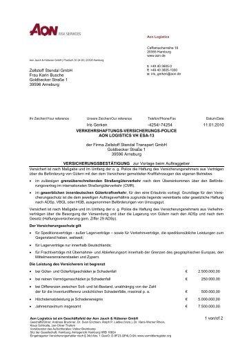 Versicherungspolice - Zellstoff Stendal Transport