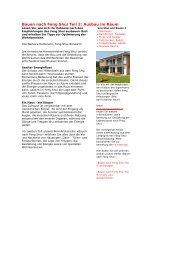 Bauen nach Feng Shui Teil 2: Ausbau im Raum