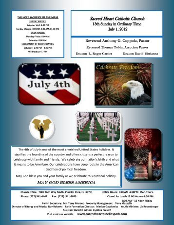 July 1, 2012 - Sacred Heart Catholic Church of Pinellas Park