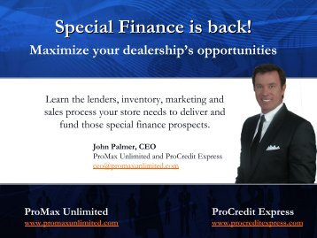 Special Finance is back! - ProMax Unlimited