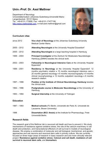Univ.-Prof. Dr. Axel Methner - Johannes Gutenberg-Universität Mainz