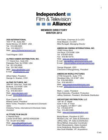 adriana chiesa enterprises srl - Independent Film and Television ...