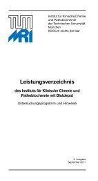 Leistungsverzeichnis - Institut für Klinische Chemie und ...