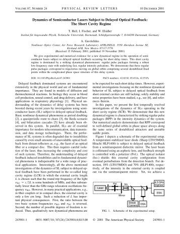 Dynamics of Semiconductor Lasers Subject to Delayed Optical - IFISC