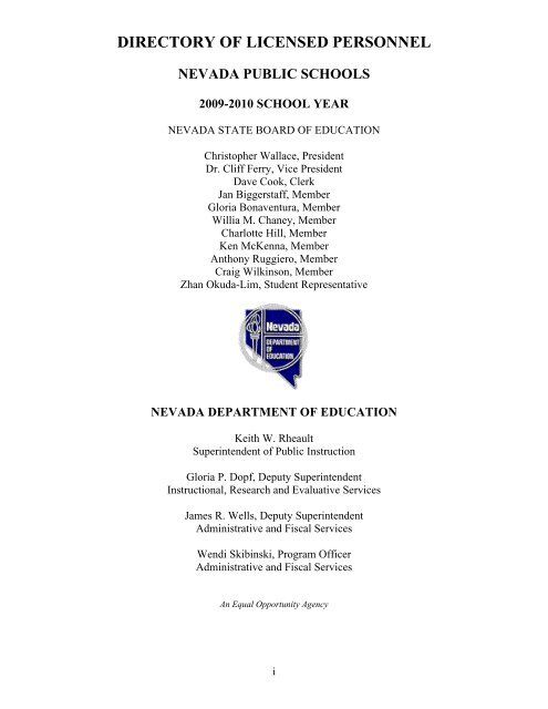Directory Of Licensed Personnel Nevada Public Schools