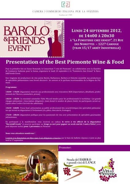 Presentation of the Best Piemonte Wine & Food LUNDI 24 ...