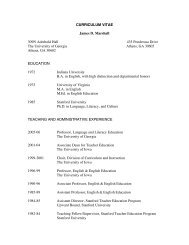 CURRICULUM VITAE James D. Marshall - College of Education ...