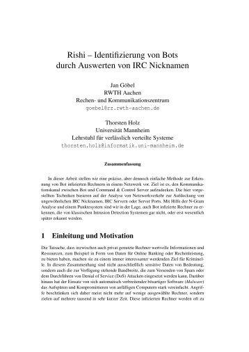 Rishi - Lehrstuhl Praktische Informatik I - Universität Mannheim