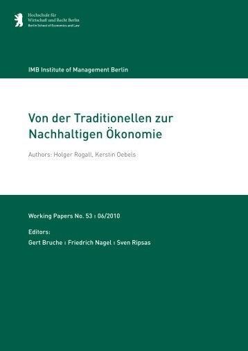 Von der Traditionellen zur Nachhaltigen Ökonomie - MBA ...