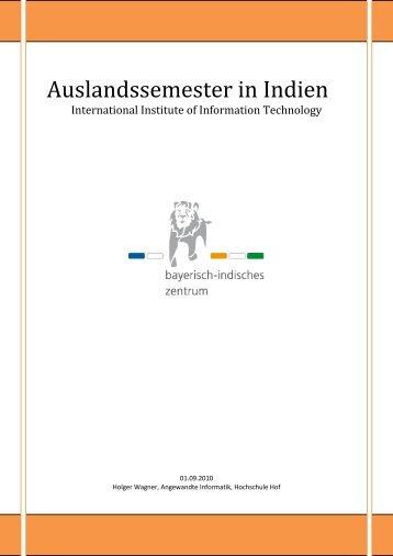 Studium am IIIT Bangalore - bayerisch-indisches zentrum