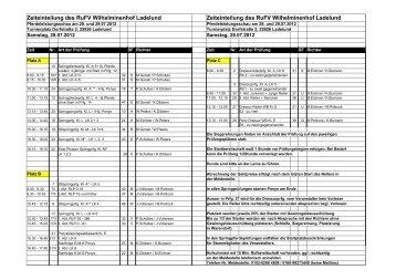 Zeiteinteilung des RuFV Wilhelminenhof Ladelund Zeiteinteilung ...