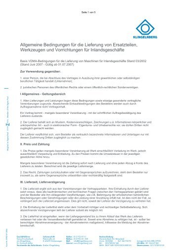 Allgemeine Bedingungen für die Lieferung von ... - Klingelnberg
